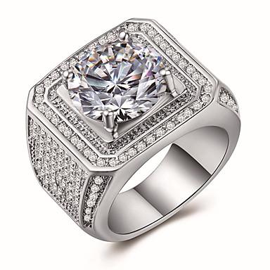 voordelige Herensieraden-Heren Ring Zegelring Kubieke Zirkonia 1pc Wit Koper Geometrische vorm Luxe Uniek ontwerp Feest Lahja Sieraden Klassiek Cool Schattig