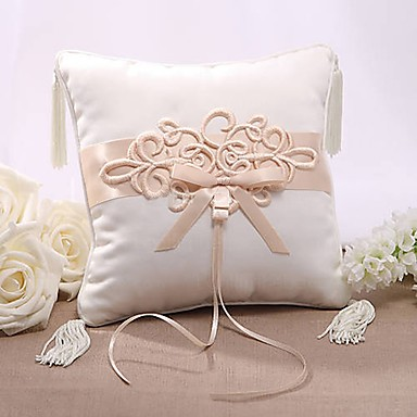 Silk Like Satin Aplikacije / S resicama Saten ring pillow Vjenčanje Sva doba