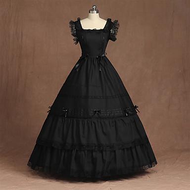 Cosplay Gothic Lolita S naborima Vintage inspirirano Haljine Kostim za party Žene Kostim Crn Vintage Cosplay Formalne prilike Bez rukávů Do poda Krinolina