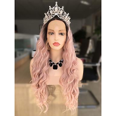 Prednja perika od sintetičkog čipke Wavy Kardashian Stil Stepenasta frizura Lace Front Perika Crna Black / Pink Sintentička kosa 24 inch Žene Žene / Ombre Crna / Pink Perika Dug Sylvia 130% Ljudski
