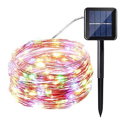 1pc 10m 100led solarni vodio string svjetla solarne vila svjetla vodootporan svijetle toplo / bijelo / šarene