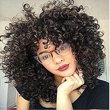 Remy kosa Full Lace Lace Front Perika Asimetrična frizura stil Brazilska kosa Afro Kinky Natural Perika 130% 150% 180% Gustoća kose Modni dizajn Nježno Žene Udobnost kovrčav Žene Dug Perike s