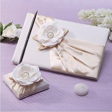 Knjiga gostiju / Set olovaka Vjenčanje S Faux Pearl / Cvijet od satena / Crystal / Rhinestone Knjiga gostiju / Set olovaka