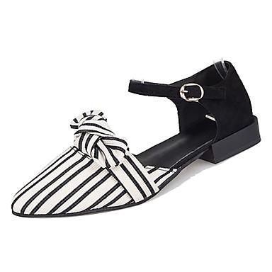 levne Dámské sandály-Dámské PU Jaro Sandály Block Heel Palec do špičky Černá / Béžová / Proužky