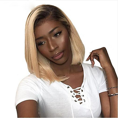 cheap Beauty & Hair-Remy Human Hair Lace Front Wig Bob Wendy style Brazilian Hair Natural Straight Blonde Wig 130% Density Fashionable Design Soft Sexy Lady Cool Comfortable Women's Short Human Hair Lace Wig PERFE