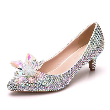 ac7ecb5d605 Women s PU(Polyurethane) Spring   Fall Sweet Wedding Shoes Kitten Heel  Pointed Toe Rhinestone