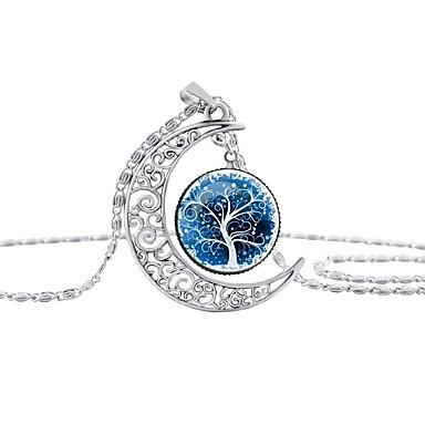 povoljno Modne ogrlice-Žene Ogrlice s privjeskom Klasičan Stablo života životno stablo Polumjesec Klasik Krom Duga Plava 42+5 cm Ogrlice Jewelry 1pc Za Dar Izlasci