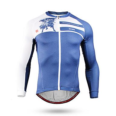 Mountainpeak Muškarci Dugih rukava Biciklistička majica Zima Runo Coolmax® Terilen Plava Cvjetni / Botanički Bicikl Biciklistička majica Majice Brdski biciklizam biciklom na cesti Ovlaživanje Quick