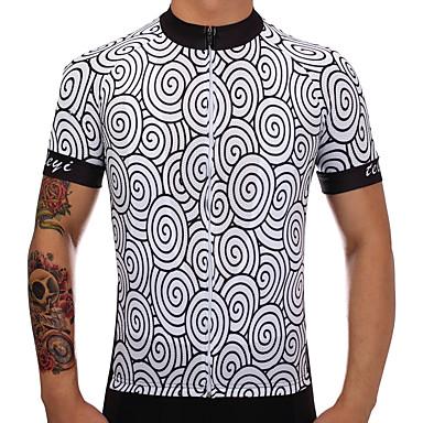 TELEYI Muškarci Kratkih rukava Biciklistička majica Poliester Crno bijela / Cvjetni / Botanički Bicikl Biciklistička majica Majice Brdski biciklizam biciklom na cesti Ovlaživanje Quick dry