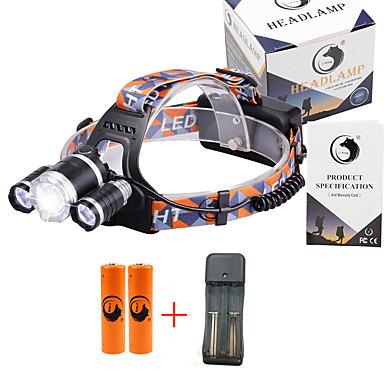 U'King Headlamps Bike Headlight 3000 lm นาฬิกา LED LED 3 อิมิเตอร์ 3 4.0 โหมดโคมไฟ with Batteries and Charger zoomable ปรับจุดโฟกัสได้ ขนาดกระทัดรัด พลังงานสูง พกพาง่าย / อลูมิเนียมอัลลอย