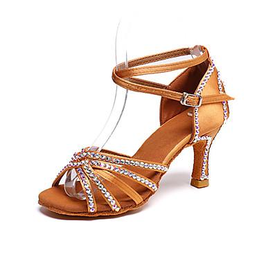 32d542bb Mujer Zapatos de Baile Latino Satén Tacones Alto Perla / Purpurina /  Hebilla Tacón Carrete Personalizables Zapatos de baile Marrón 7087403 2019  – $39.99