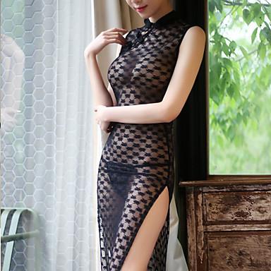 Žene Mrežica Super seksi Seksi spavaćica / kineska haljina / Odijelo Noćno rublje Jednobojni Crn One-Size