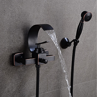 Kupaonica Sudoper pipa - Waterfall Crn Središnje pozicionirane Jedan obrađuju dvije rupeBath Taps