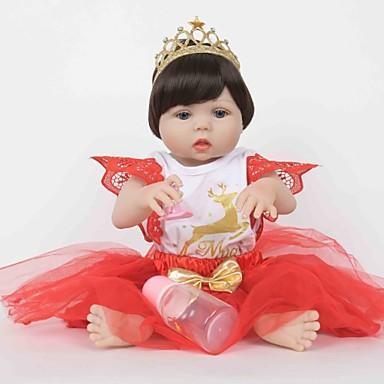 FeelWind Autentične bebe Djevojka lutka Za ženske bebe 22 inch Cijeli silikon tijela Silikon Vinil - vjeran Ručno Izrađen Slatko Sigurno za djecu Djeca / Teen Non Toxic Dječjom Uniseks Igračke za