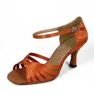 Žene Plesne cipele Saten Cipele za latino plesove Kopča Štikle Tanka visoka peta žuta / Seksi blagdanski kostimi / Koža / Vježbanje