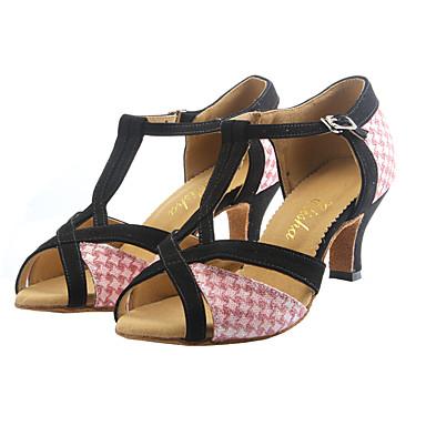 cheap Dance Shoes-Women's Latin Shoes Synthetics Buckle Heel Glitter Cuban Heel Customizable Dance Shoes Pink