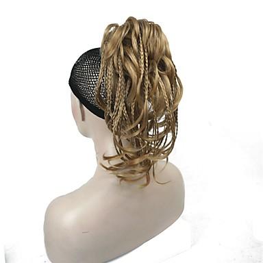 cheap Hair Pieces-Clip In / On Bundle Hair / Synthetic Wig / Ponytails Synthetic Synthetic Hair Hair Piece Hair Extension Straight 11 inch Dailywear / Black / Blonde