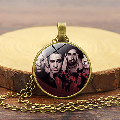 cheap Pendant Necklaces-Men's Pendant Necklace Classic Trendy Steampunk Glass Chrome Black Gold Silver 45+5 cm Necklace Jewelry 1pc For Daily Bar