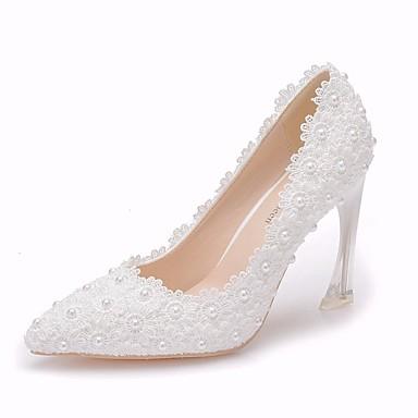 ราคาถูก ส้นรองเท้า-สำหรับผู้หญิง ลูกไม้ / PU ฤดูใบไม้ผลิ & ฤดูใบไม้ร่วง minimalism รองเท้าแต่งงาน Heterotypic Heel Pointed Toe คริสตัล / เพิร์ลเทียม / ดอกไม้ผ้าซาติน ขาว / งานแต่งงาน