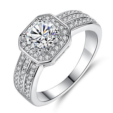 billige Motering-Dame damer Ring Micro Pave Ring Diamant Kubisk Zirkonium liten diamant 1pc Hvit Gul Kobber Geometrisk Form Luksus Unikt design Fest Gave Smykker Klassisk HALO Kul Smuk
