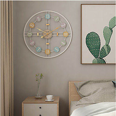 cheap Wall Clocks-Modern Contemporary / Fashion Stainless steel Round Classic Theme Indoor Battery Decoration Wall Clock Yes Electroplated No