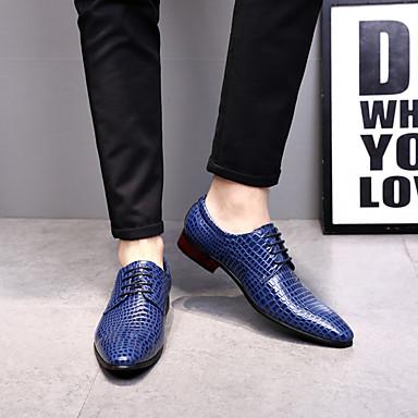 abordables Oxfords Homme-Homme Chaussures Formal Cuir Verni Printemps & Automne Simple / Britanique Oxfords Ne glisse pas Noir / Vin / Bleu / Soirée & Evénement / Soirée & Evénement / Chaussures de confort