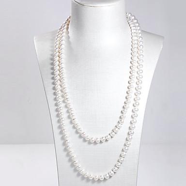 levne Dámské šperky-Dámské Sladkovodní perla vrstvené Náhrdelníky Dvojité dámy příroda Módní Elegantní Stříbro Nerez Sladkovodní perla Bílá 120 cm Náhrdelníky Šperky 1ks Pro Párty Dar Cosplay kostýmy