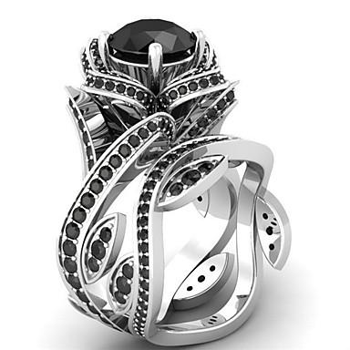 billige Motering-Dame Statement Ring Kubisk Zirkonium 1pc Grønn Blå Lyseblå Kobber Geometrisk Form Luksus Unikt design Fest Gave Smykker Klassisk Blomst Kul Smuk