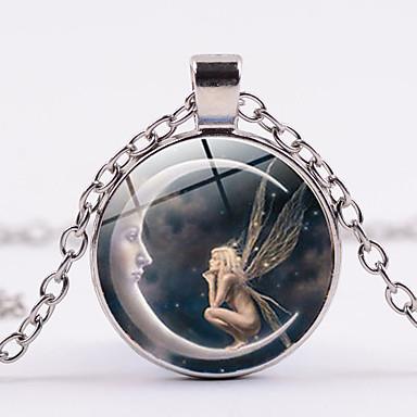 levne Dámské šperky-Dámské Náhrdelníky s přívěšky Klasika MOON Crescent Moon Anděl Magie Jednoduchý Módní Sklo Chrome Zlatá Černá Stříbrná 45+5 cm Náhrdelníky Šperky 1ks Pro Denní Jdeme ven