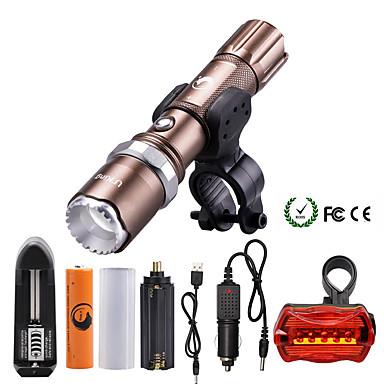 U'King ไฟฉาย LED 2000 lm นาฬิกา LED LED อิมิเตอร์ 5 โหมดโคมไฟ with Battery and Chargers zoomable ปรับจุดโฟกัสได้ หรี่แสงได้ แคมป์ปิ้ง / การปีนเขา / เที่ยวถ้ำ ใช้เป็นประจำ มัลติฟังก์ชั่น สีน้ำตาล