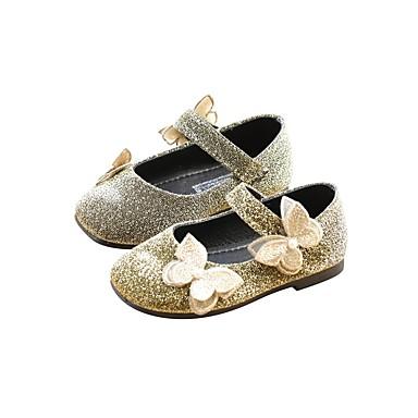 voordelige Babyschoenentjes-Meisjes Ballerina / Bloemenmeisjesschoenen Imitatieleer Platte schoenen Peuter (9m-4ys) Goud / Zwart / Zilver Lente & Herfst