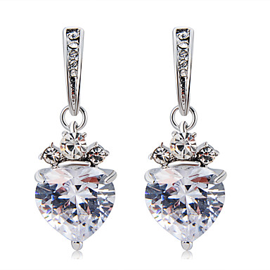 levne Dámské šperky-Dámské Průsvitné Křišťál Visací náušnice Průhledné Srdce Módní Moderní Elegantní Umělé diamanty Náušnice Šperky Stříbrná Pro Denní Formální 2pcs