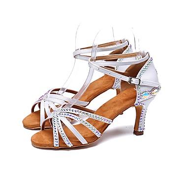 922d1f0e356e Žene Cipele za latino plesove Saten Štikle Svjetlucave šljokice   Kopča    Kristalni detalji Deblja visoka potpetica Moguće personalizirati Plesne  cipele ...