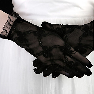 cheap Party Gloves-Lace Wrist Length Glove Stylish / Gloves With Embroidery