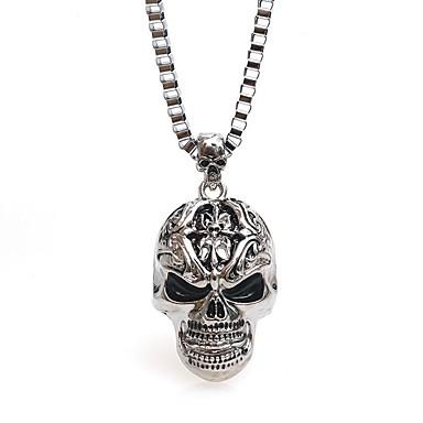 preiswerte Vintage Halskette-Herrn Ketten Lang Baht-Kette Totenkopf Retro Hip-Hop satanisch Chrom Silber 54 cm Modische Halsketten Schmuck 1pc Für Halloween Karnival