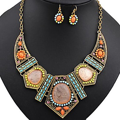 cheap Hair Jewelry-Women's Jewelry Set Statement Necklace Dangle Earrings Bib Ladies Bohemian Elegant Africa Colorful African Resin Rhinestone Earrings Jewelry Rainbow For Party Vacation 1 set