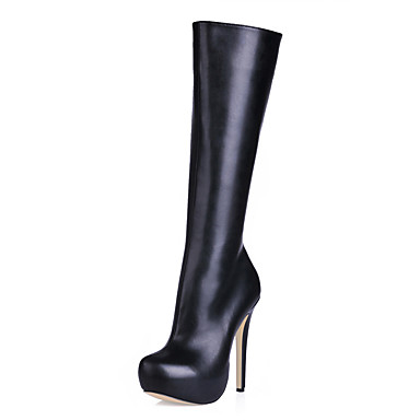 Žene Čizme Čizme do koljena Stiletto potpetica Okrugli Toe Sintetika Čizme do koljena Klasik / minimalizam Jesen zima Crn / Bež / Zabava i večer