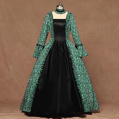 Queen kraljica Elizabeth Vintage Rococo Viktoriánus 18. stoljeće Haljine Žene Kostim Zelen Vintage Cosplay Party Stage Dugih rukava Do poda Krinolina Veći konfekcijski brojevi