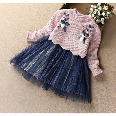 cheap Baby & Kids-Kids Girls' Basic Dusty Rose Solid Colored Long Sleeve Dress Purple