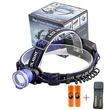 U'King Headlamps Bike Headlight 2000 lm นาฬิกา LED LED อิมิเตอร์ 3 โหมดโคมไฟ with Batteries and Charger zoomable นาฬิกาปลุก ปรับจุดโฟกัสได้ ขนาดกระทัดรัด พลังงานสูง พกพาง่าย / อลูมิเนียมอัลลอย