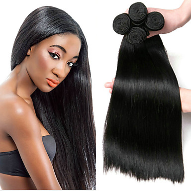 povoljno Ekstenzije od ljudske kose-4 paketića Brazilska kosa Ravan kroj Netretirana  ljudske kose Ljudske kose plete Produžetak Bundle kose 8-28 inch Prirodna boja Isprepliće ljudske kose Nježno Najbolja kvaliteta Rasprodaja