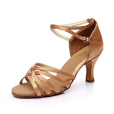 cheap Top Sellings-Women's Dance Shoes PU Leather / Satin Latin Shoes / Salsa Shoes Buckle Sandal Customized Heel Customizable Silver / Brown / Gold / EU40