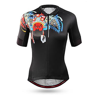 Mountainpeak Žene Kratkih rukava Biciklistička majica Crn Bicikl Biciklistička majica Majice Brdski biciklizam biciklom na cesti Ovlaživanje Quick dry Anatomski dizajn Sportski Coolmax® Terilen Odjeća