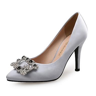 cheap Women's Heels-Women's Satin Spring &  Fall Sweet / Minimalism Heels Stiletto Heel Pointed Toe Rhinestone Gray / Royal Blue / Wedding / Party & Evening