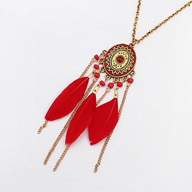 povoljno Modne ogrlice-Žene Duga ogrlica Rese Perje Vintage Etnikai Moda Perje Krom Crn Crvena Tamno zelena 72 cm Ogrlice Jewelry 1pc Za Dnevno