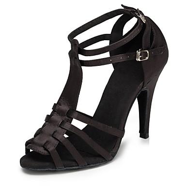 Žene Plesne cipele Saten Cipele za latino plesove Isprepleteni dijelovi Štikle Tanka visoka peta Moguće personalizirati Crn / Leopard / Seksi blagdanski kostimi / Koža