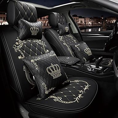 voordelige Auto-interieur accessoires-5 zetels kroon design cartoon autostoelhoes met twee hoofdsteun en twee taille kussens / pu leer / airbag compatibiliteit / verstelbaar en afneembaar / vier seizoenen universeel