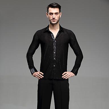 povoljno Odjeća i obuća za ples-Latino ples Majice Muškarci Seksi blagdanski kostimi Pamuk Nabori Dugih rukava Shirt