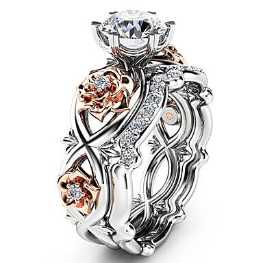 billige Motering-Dame Statement Ring Ring Diamant Kubisk Zirkonium 1pc Hvit Kobber Geometrisk Form Luksus Unikt design fortryllet Fest Gave Smykker Klassisk Kul Smuk