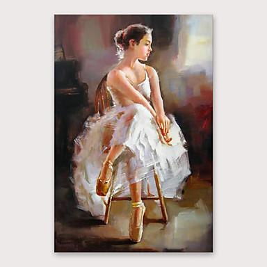 povoljno Ulja na platnu-Hang oslikana uljanim bojama Ručno oslikana - Ljudi Moderna Uključi Unutarnji okvir